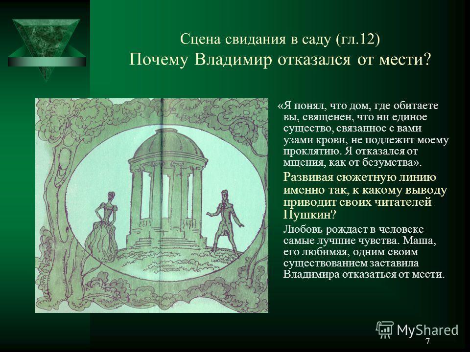 7 Сцена свидания в саду (гл.12) Почему Владимир отказался от мести? «Я понял, что дом, где обитаете вы, священен, что ни единое существо, связанное с вами узами крови, не подлежит моему проклятию. Я отказался от мщения, как от безумства». Развивая сю