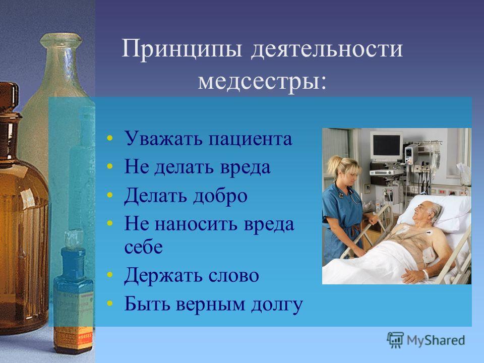 Принципы деятельности медсестры: Уважать пациента Не делать вреда Делать добро Не наносить вреда себе Держать слово Быть верным долгу