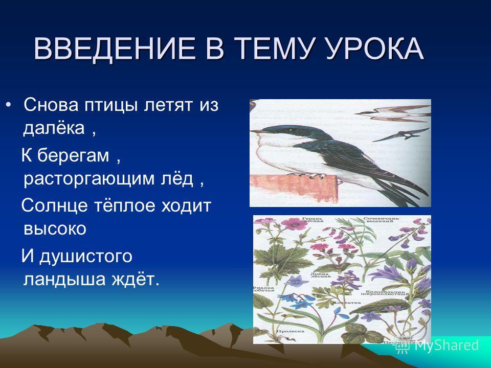 ВВЕДЕНИЕ В ТЕМУ УРОКА Снова птицы летят из далёка, К берегам, расторгающим лёд, Солнце тёплое ходит высоко И душистого ландыша ждёт.