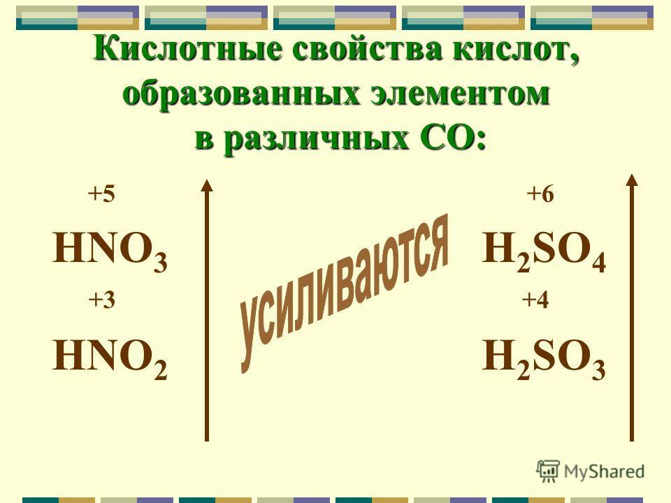 Кислотные свойства кислот, образованных элементом в различных СО: +5 +6 HNO 3 H 2 SO 4 +3 +4 HNO 2 H 2 SO 3