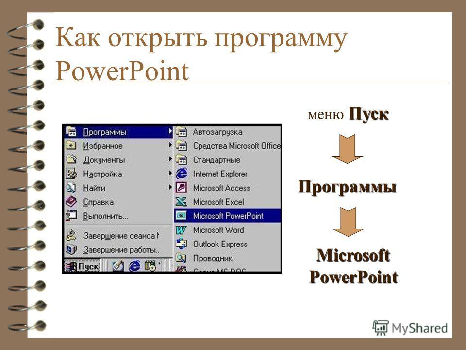 Как открыть программу PowerPoint Пуск меню Пуск Программы MicrosoftPowerPoint