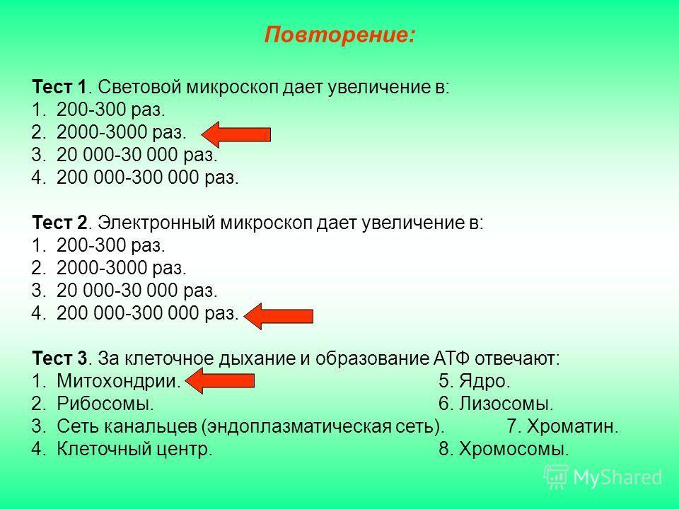 Тест 1. Световой микроскоп дает увеличение в: 1.200-300 раз. 2.2000-3000 раз. 3.20 000-30 000 раз. 4.200 000-300 000 раз. Тест 2. Электронный микроскоп дает увеличение в: 1.200-300 раз. 2.2000-3000 раз. 3.20 000-30 000 раз. 4.200 000-300 000 раз. Тес