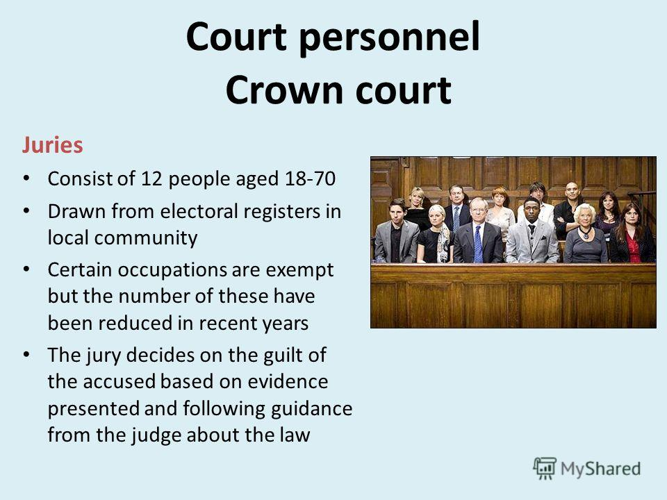Court personnel Crown court Juries Consist of 12 people aged 18-70 Drawn from electoral registers in local community Certain occupations are exempt but the number of these have been reduced in recent years The jury decides on the guilt of the accused
