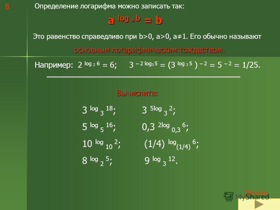 7 Правильное решение примеров 1 столбца: Log 2 16 = 4, так как 2 4 = 16. Log 2 1 = 0, так как 2 0 = 1. Log 3 27 = 3, так как 3 3 = 27. Log ½ 1/32 = 5, так как (1/2) 5 = 1/32. Log 0,5 (1/2) = 1, так как (0,5) 1 = (1/2) 1 = ½. Проверьте 2 и 3 столбец,