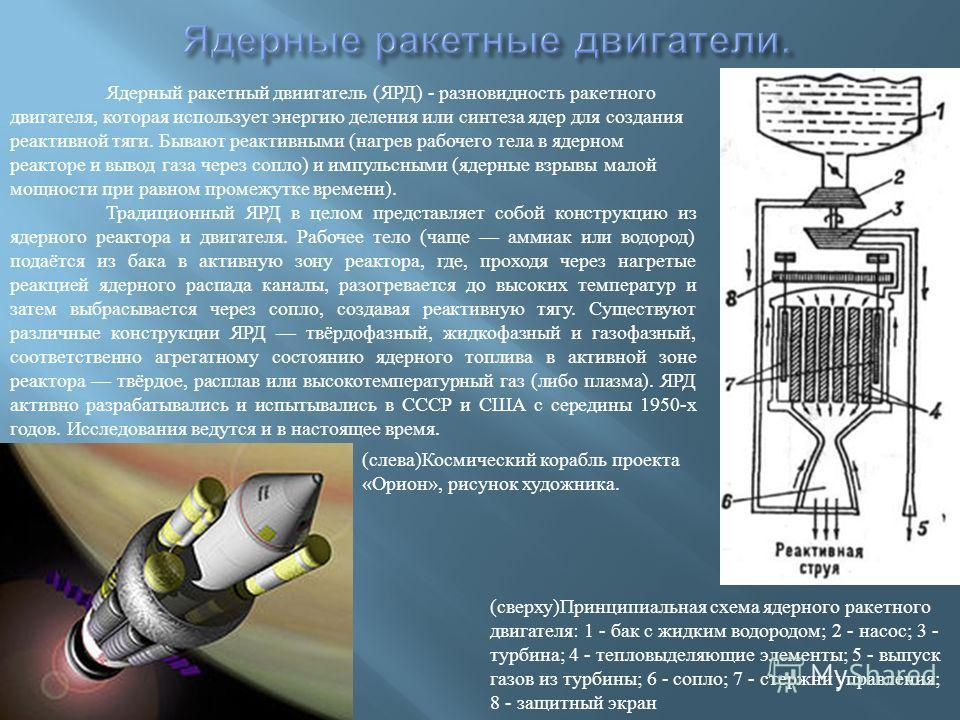 Ядерный ракетный двиигатель (ЯРД) - разновидность ракетного двигателя, которая использует энергию деления или синтеза ядер для создания реактивной тяги. Бывают реактивными (нагрев рабочего тела в ядерном реакторе и вывод газа через сопло) и импульсны