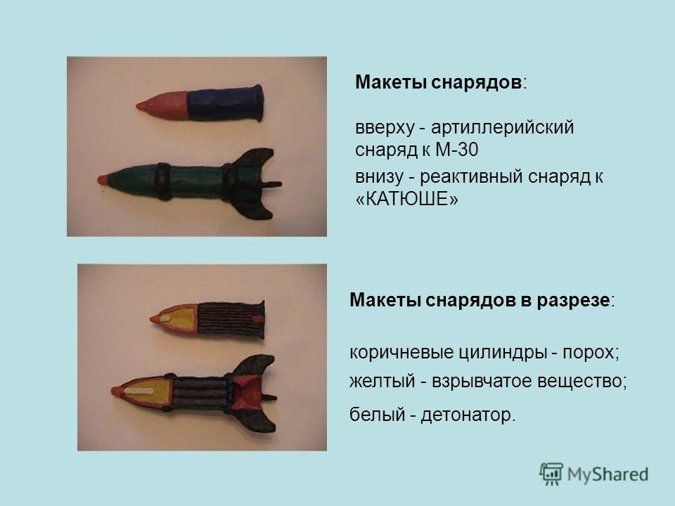 Макеты снарядов в разрезе: коричневые цилиндры - порох; желтый - взрывчатое вещество; белый - детонатор. Макеты снарядов: вверху - артиллерийский снаряд к М-30 внизу - реактивный снаряд к «КАТЮШЕ»