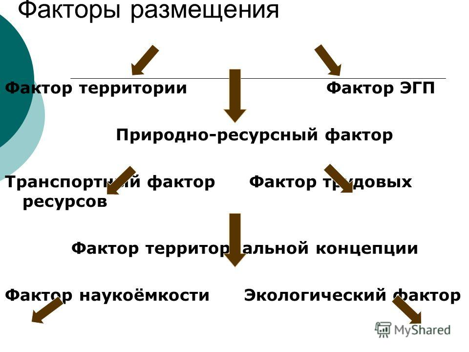 Факторы размещения Фактор территории Фактор ЭГП Природно-ресурсный фактор Транспортный фактор Фактор трудовых ресурсов Фактор территориальной концепции Фактор наукоёмкости Экологический фактор