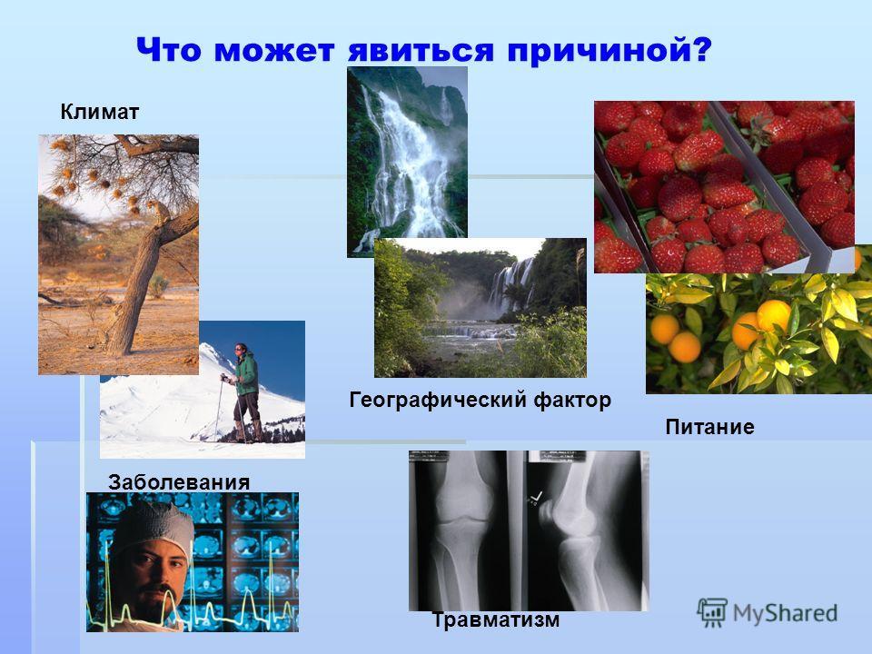 Что может явиться причиной? Травматизм Заболевания Климат Географический фактор Питание
