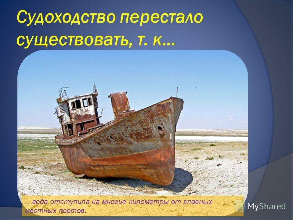 Судоходство перестало существовать, т. к… …вода отступила на многие километры от главных местных портов.