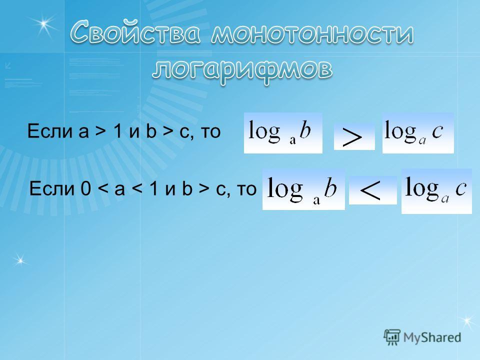Если a > 1 и b > c, то Если 0 < a < 1 и b > c, то