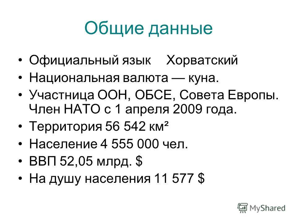 Общие данные Официальный языкХорватский Национальная валюта куна. Участница ООН, ОБСЕ, Совета Европы. Член НАТО с 1 апреля 2009 года. Территория 56 542 км² Население 4 555 000 чел. ВВП 52,05 млрд. $ На душу населения 11 577 $