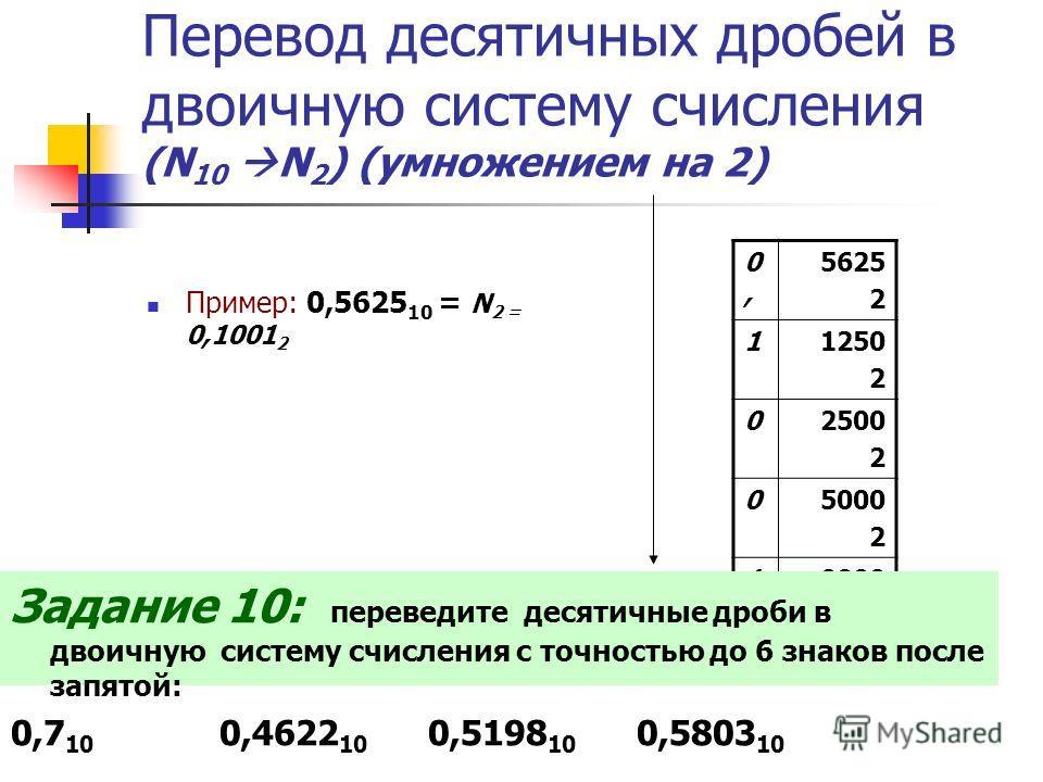 Перевод десятичных дробей в двоичную систему счисления (N 10 N 2 ) (умножением на 2) Пример: 0,5625 10 = N 2 = 0,1001 2 0,0, 5625 2 11250 2 02500 2 05000 2 10000 Задание 10: переведите десятичные дроби в двоичную систему счисления с точностью до 6 зн