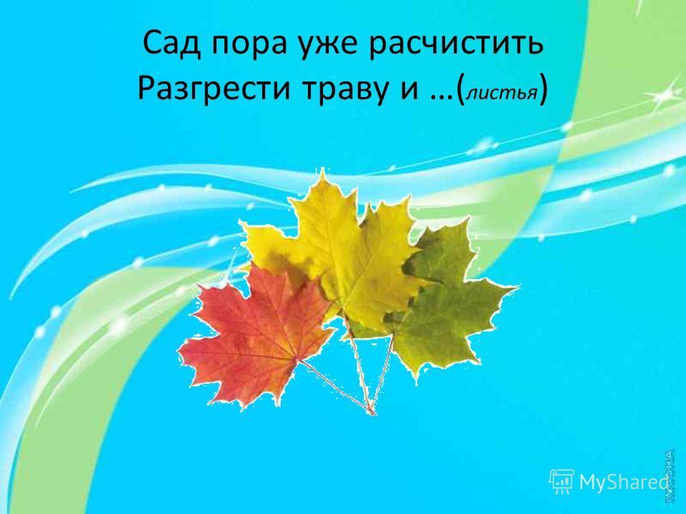 Сад пора уже расчистить Разгрести траву и …( листья )