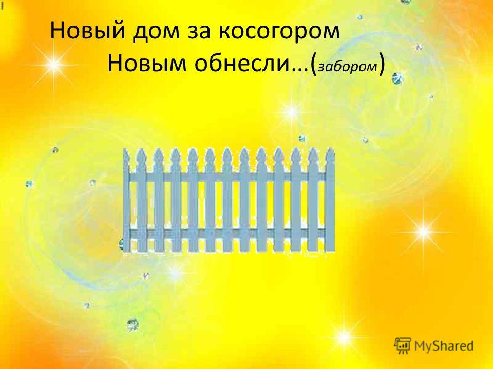 Новый дом за косогором Новым обнесли…( забором )