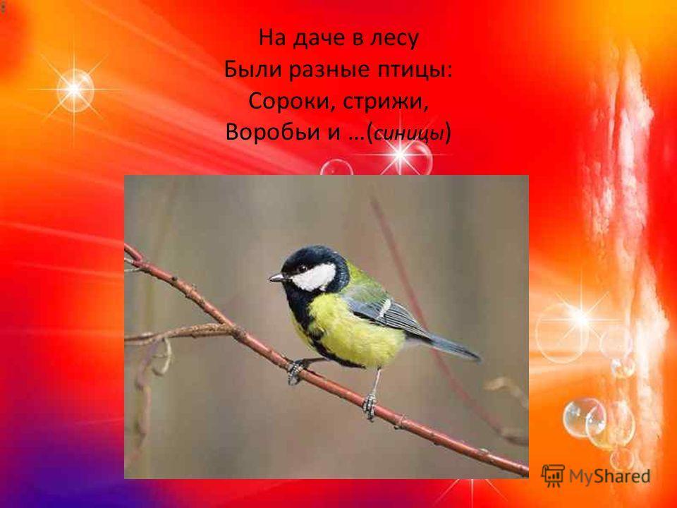 На даче в лесу Были разные птицы: Сороки, стрижи, Воробьи и …( синицы )