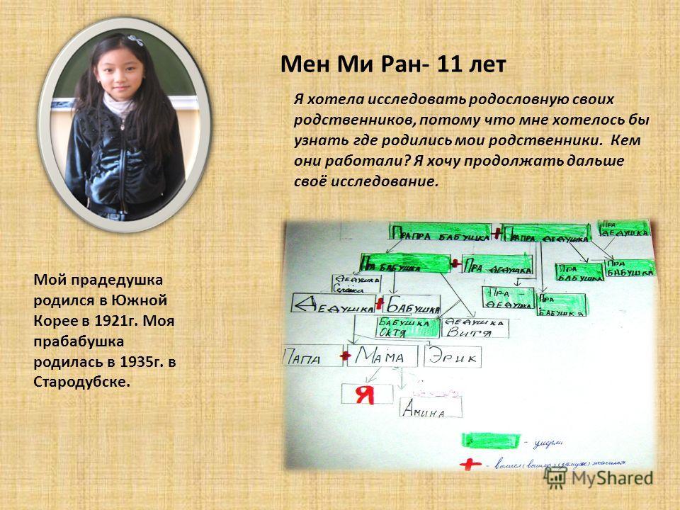 Мен Ми Ран- 11 лет Мой прадедушка родился в Южной Корее в 1921г. Моя прабабушка родилась в 1935г. в Стародубске. Я хотела исследовать родословную своих родственников, потому что мне хотелось бы узнать где родились мои родственники. Кем они работали?