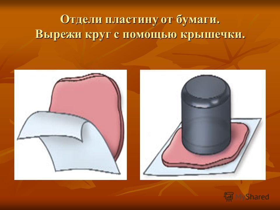 Отдели пластину от бумаги. Вырежи круг с помощью крышечки.