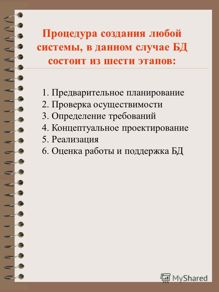 1. Предварительное планирование 2. Проверка осуществимости 3. Определение требований 4. Концептуальное проектирование 5. Реализация 6. Оценка работы и поддержка БД Процедура создания любой системы, в данном случае БД состоит из шести этапов: