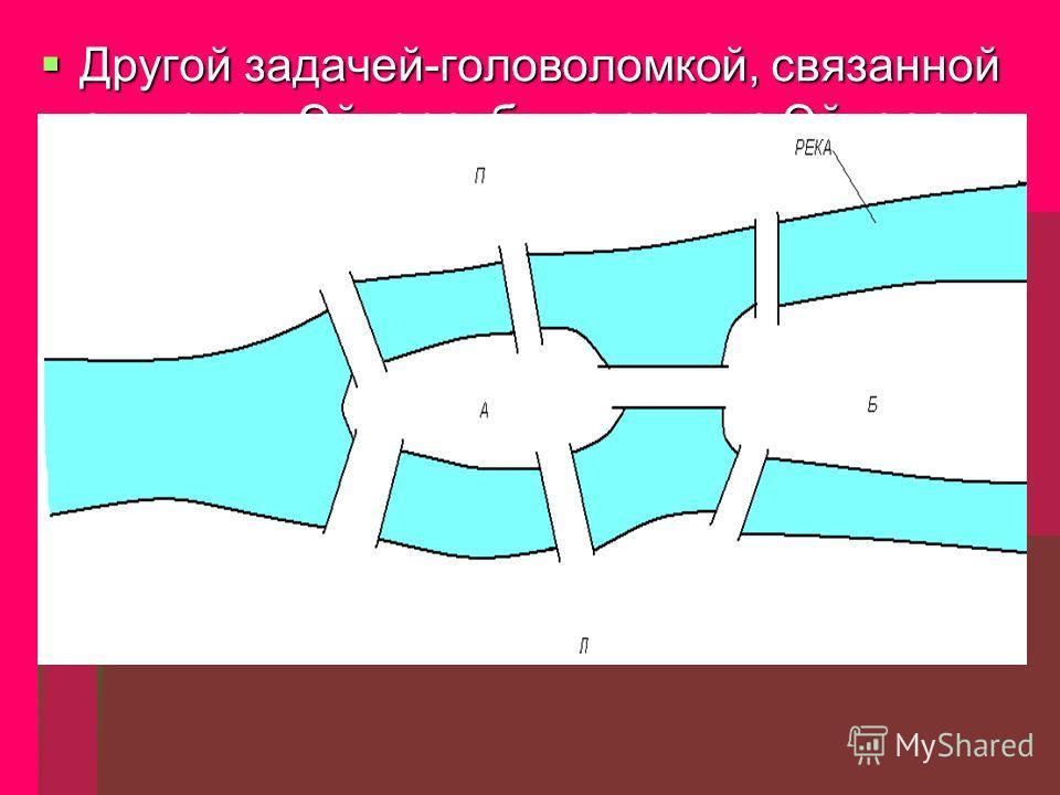 Другой задачей-головоломкой, связанной с именем Эйлера, была задача Эйлера о кенигсбергских мостах. Другой задачей-головоломкой, связанной с именем Эйлера, была задача Эйлера о кенигсбергских мостах. Во времена Эйлера в городе Кенигсберге (ныне Калин