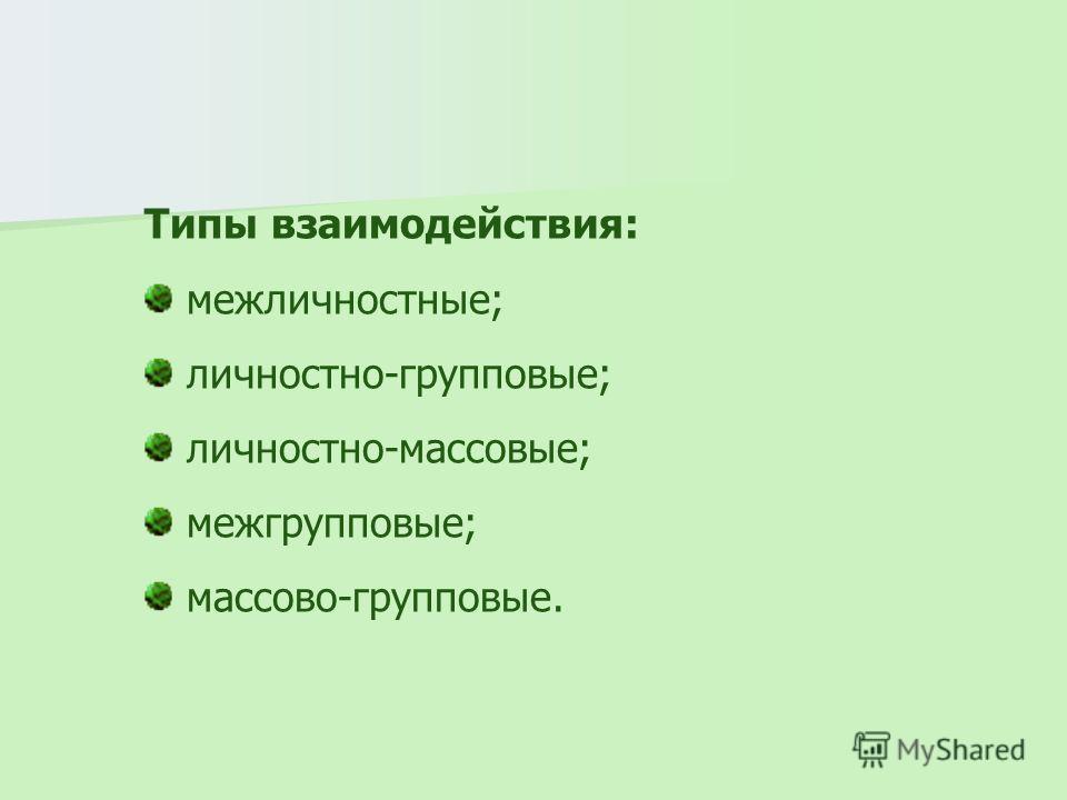 Типы взаимодействия: межличностные; личностно-групповые; личностно-массовые; межгрупповые; массово-групповые.