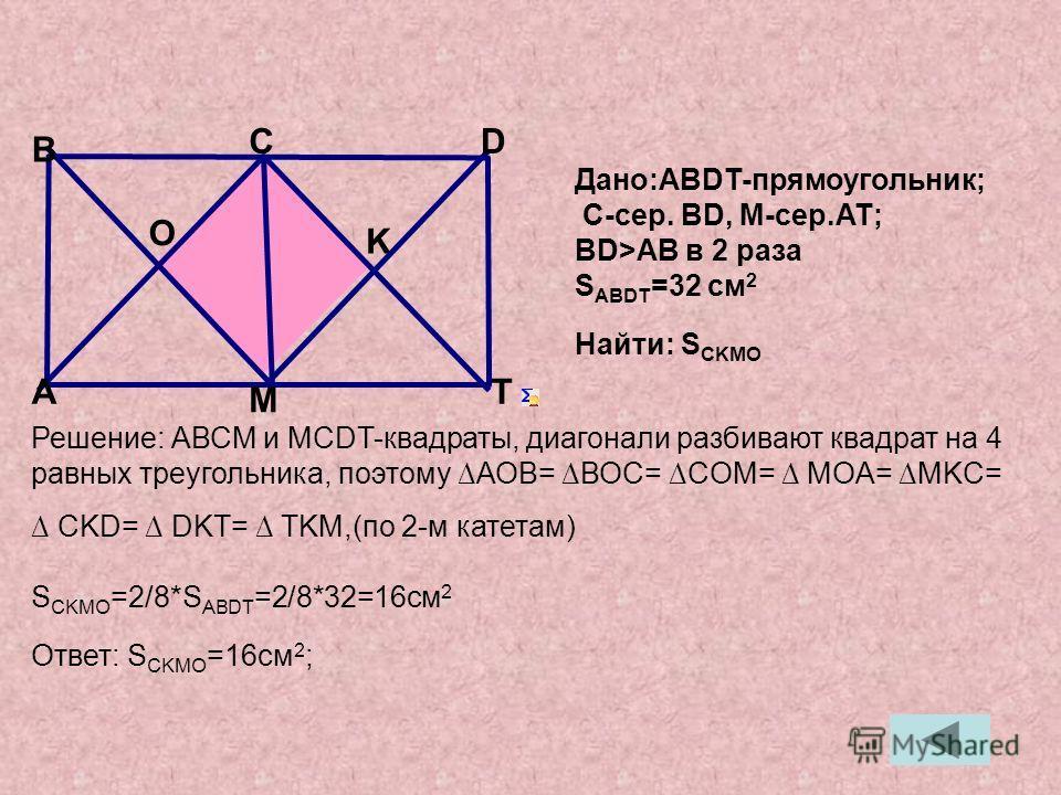 Решение: АВСМ и МСDT-квадраты, диагонали разбивают квадрат на 4 равных треугольника, поэтому АОВ= ВОС= СOМ= МOA= MKC= CKD= DKT= TKM,(по 2-м катетам) S CKMO =2/8*S ABDT =2/8*32=16см 2 Ответ: S CKМО =16см 2 ; Дано:ABDT-прямоугольник; C-сер. BD, М-сер.A