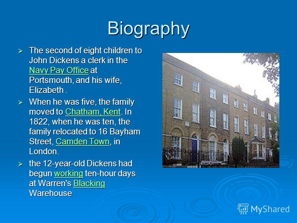 Biography The second of eight children to John Dickens a clerk in the Navy Pay Office at Portsmouth, and his wife, Elizabeth. The second of eight children to John Dickens a clerk in the Navy Pay Office at Portsmouth, and his wife, Elizabeth. Navy Pay