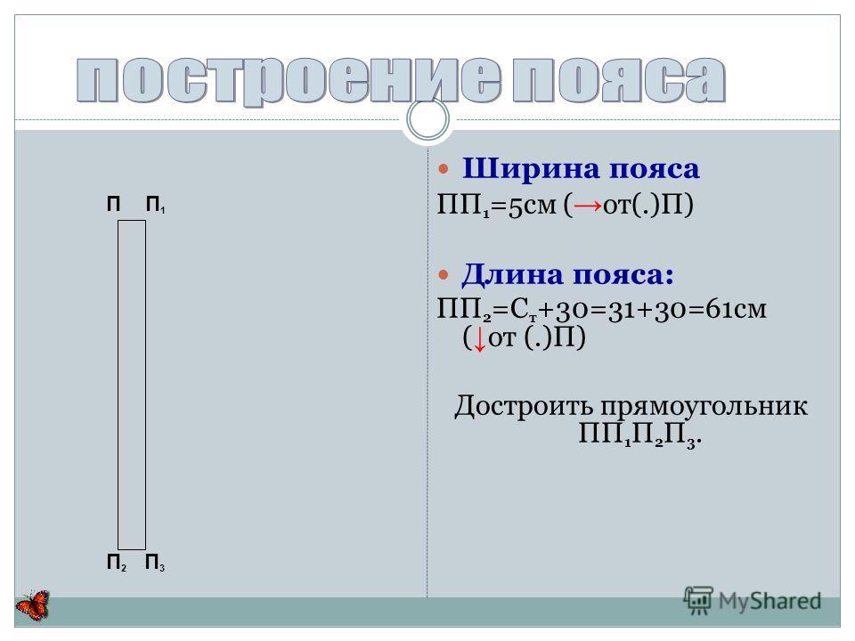 Ширина пояса ПП 1 =5см ( от(.)П) Длина пояса: ПП 2 =С т +30=31+30=61см ( от (.)П) Достроить прямоугольник ПП 1 П 2 П 3. П П 1 П 2 П 3