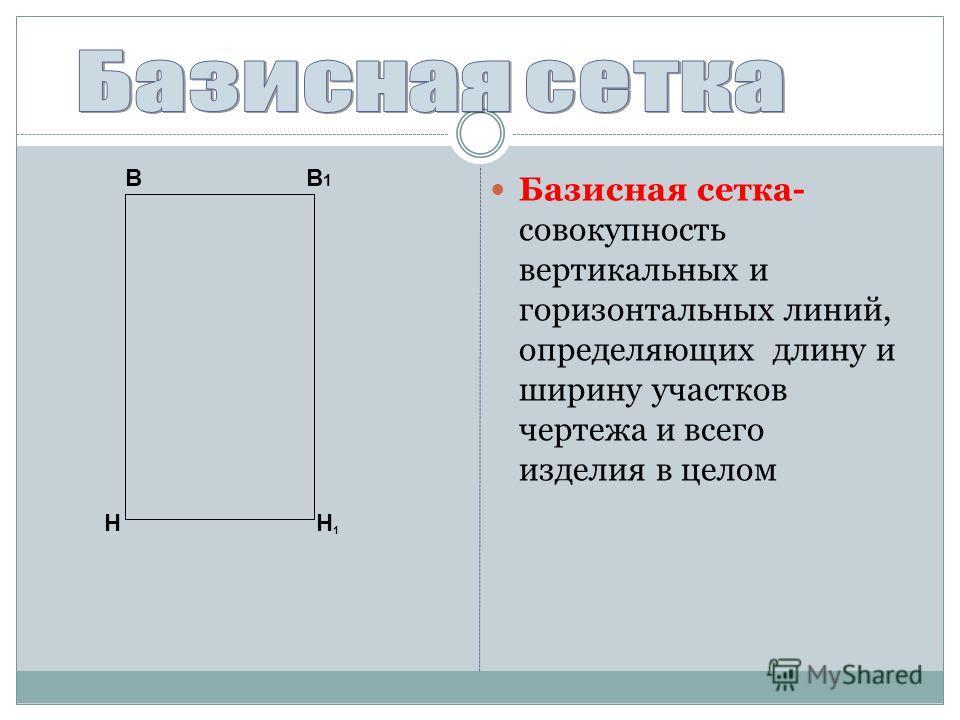 В1В1. Базисная сетка- совокупность вертикальных и горизонтальных линий, определяющих длину и ширину участков чертежа и всего изделия в целом Н В Н1Н1