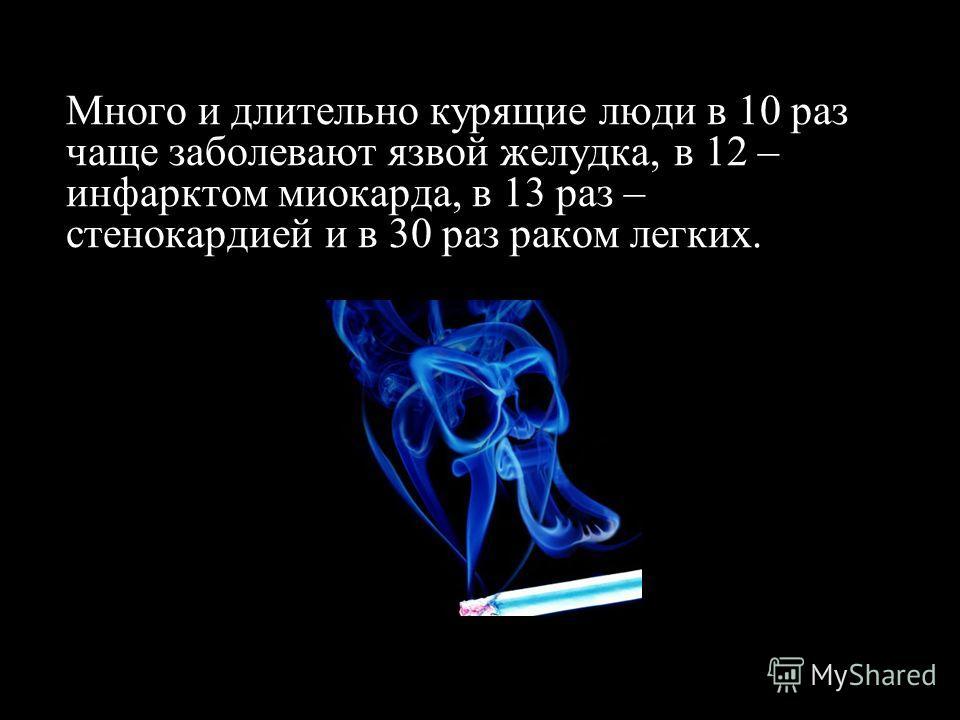 Много и длительно курящие люди в 10 раз чаще заболевают язвой желудка, в 12 – инфарктом миокарда, в 13 раз – стенокардией и в 30 раз раком легких.