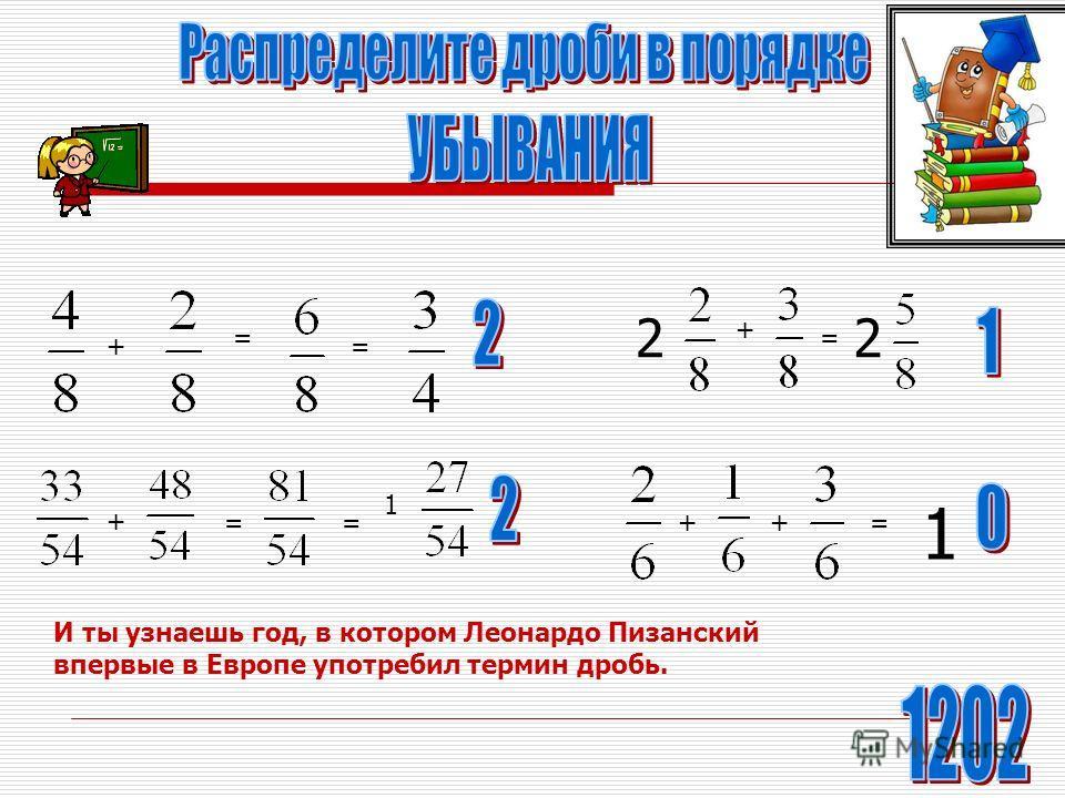 = = + = + = 1 1 ++= И ты узнаешь год, в котором Леонардо Пизанский впервые в Европе употребил термин дробь. 2 + = 2