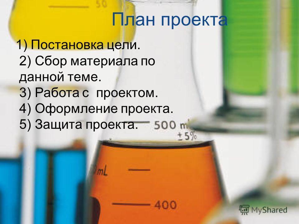 План проекта 1) Постановка цели. 2) Сбор материала по данной теме. 3) Работа с проектом. 4) Оформление проекта. 5) Защита проекта.