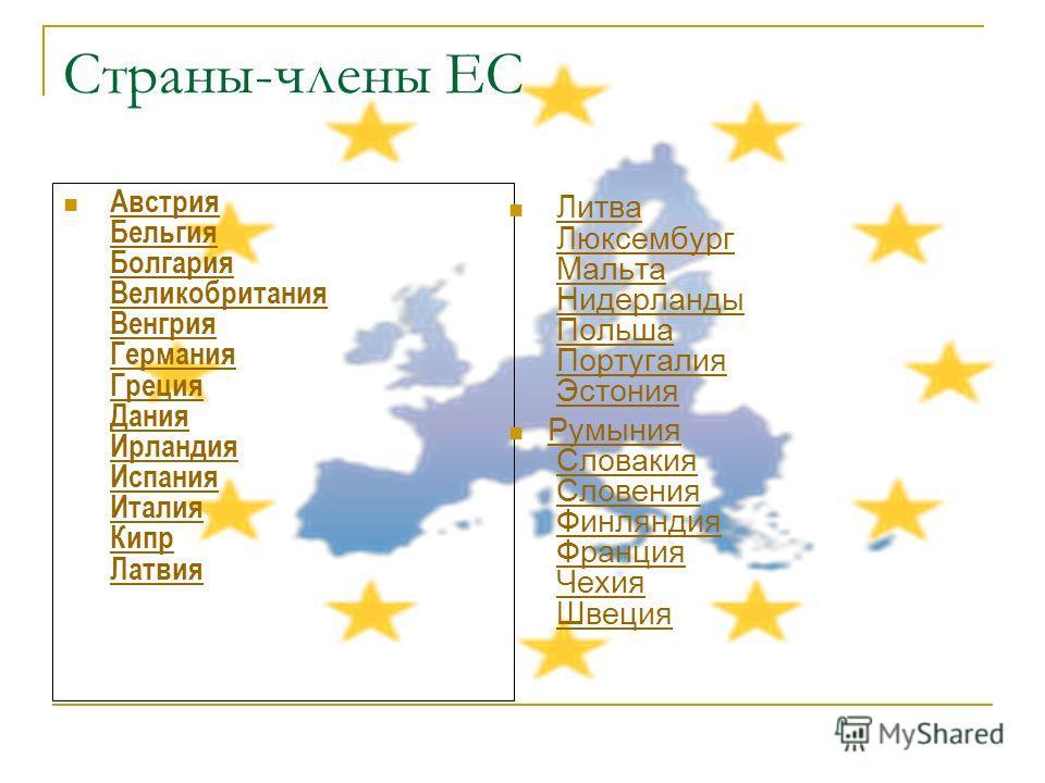 Страны-члены ЕС Австрия Бельгия Болгария Великобритания Венгрия Германия Греция Дания Ирландия Испания Италия Кипр Латвия АвстрияБельгияБолгарияВеликобританияВенгрияГерманияГрецияДанияИрландияИспанияИталияКипрЛатвия Литва Люксембург Мальта Нидерланды
