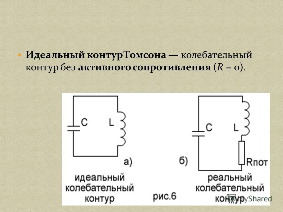 Идеальный контур Томсона колебательный контур без активного сопротивления (R = 0).