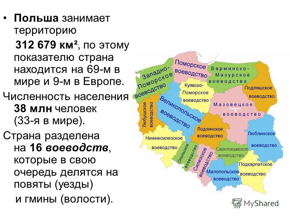 Польша занимает территорию 312 679 км², по этому показателю страна находится на 69-м в мире и 9-м в Европе. Численность населения 38 млн человек (33-я в мире). Страна разделена на 16 воеводств, которые в свою очередь делятся на повяты (уезды) и гмины