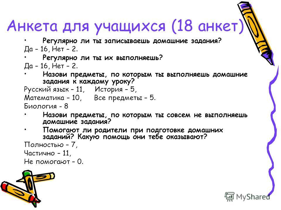 Анкета для учащихся (18 анкет) Регулярно ли ты записываешь домашние задания? Да – 16, Нет – 2. Регулярно ли ты их выполняешь? Да – 16, Нет – 2. Назови предметы, по которым ты выполняешь домашние задания к каждому уроку? Русский язык – 11, История – 5