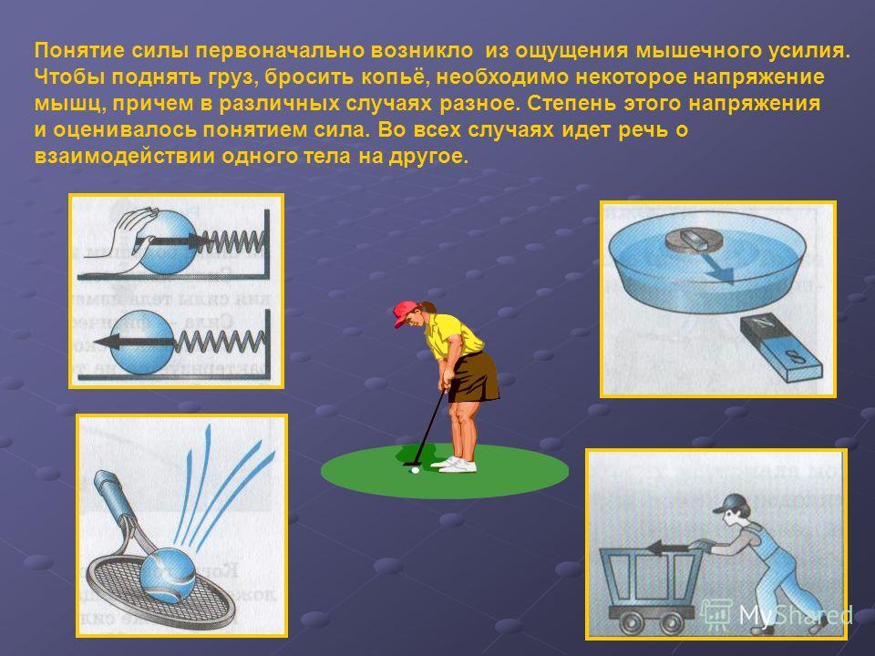 Понятие силы первоначально возникло из ощущения мышечного усилия. Чтобы поднять груз, бросить копьё, необходимо некоторое напряжение мышц, причем в различных случаях разное. Степень этого напряжения и оценивалось понятием сила. Во всех случаях идет р