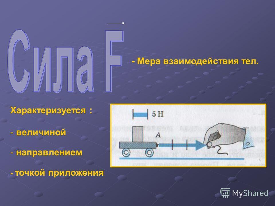 Характеризуется : - величиной - направлением - точкой приложения - Мера взаимодействия тел.