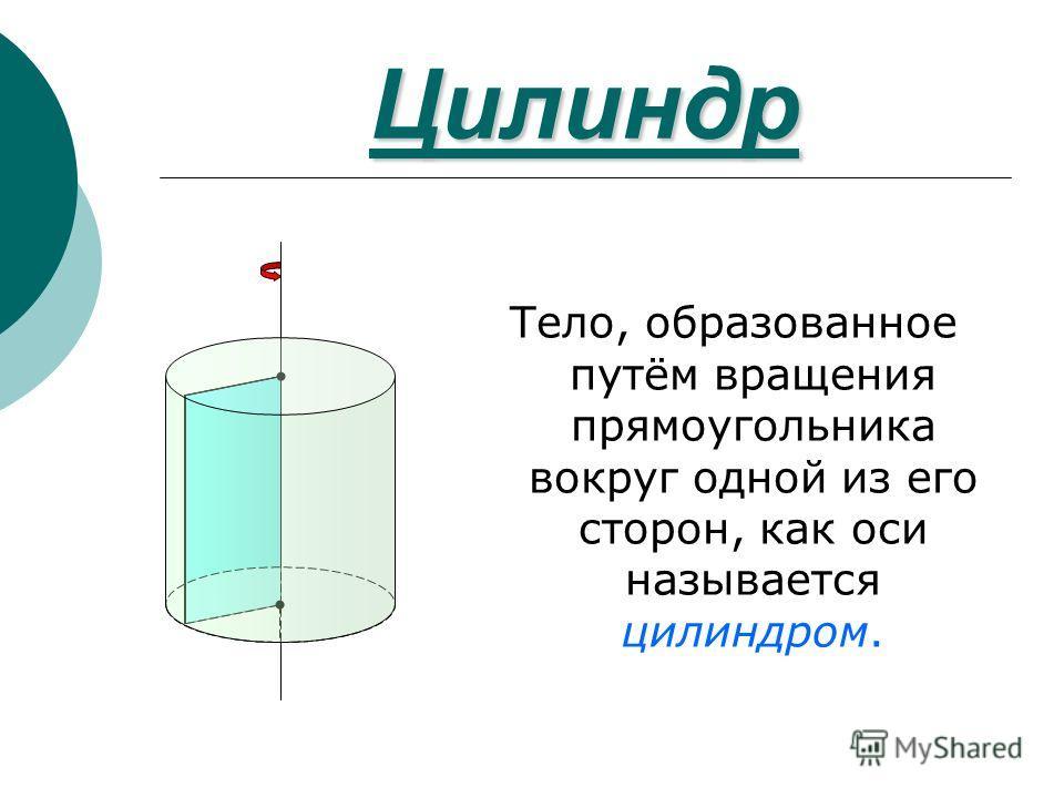 Тело, образованное путём вращения прямоугольника вокруг одной из его сторон, как оси называется цилиндром. Цилиндр