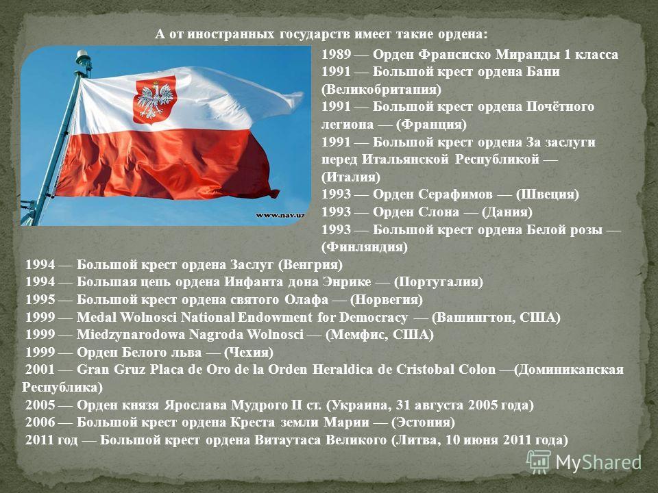 А от иностранных государств имеет такие ордена: 1989 Орден Франсиско Миранды 1 класса 1991 Большой крест ордена Бани (Великобритания) 1991 Большой крест ордена Почётного легиона (Франция) 1991 Большой крест ордена За заслуги перед Итальянской Республ