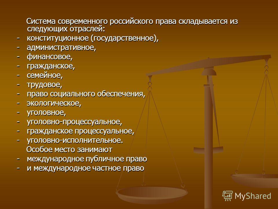 Система современного российского права складывается из следующих отраслей: Система современного российского права складывается из следующих отраслей: - конституционное (государственное), - административное, - финансовое, - гражданское, - семейное, -