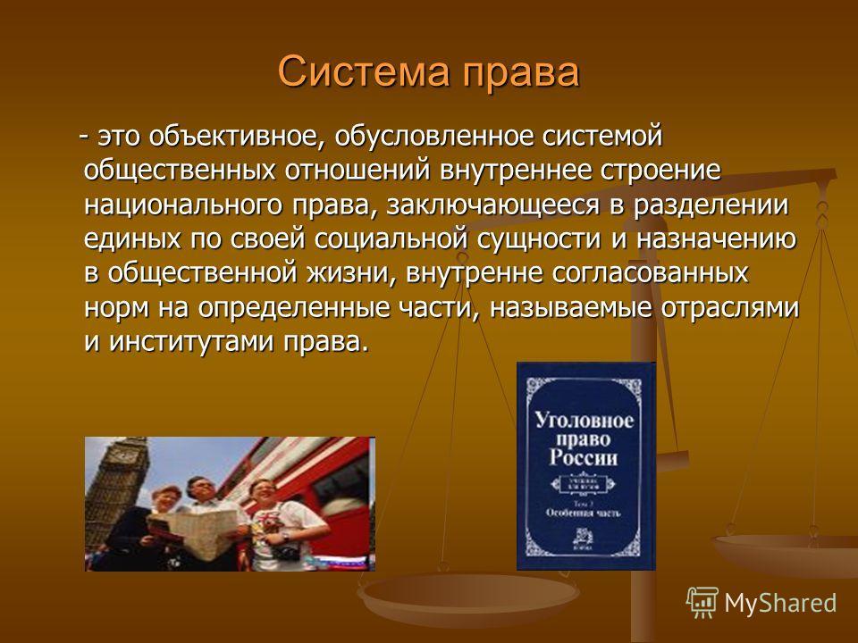 Система права - это объективное, обусловленное системой общественных отношений внутреннее строение национального права, заключающееся в разделении единых по своей социальной сущности и назначению в общественной жизни, внутренне согласованных норм на