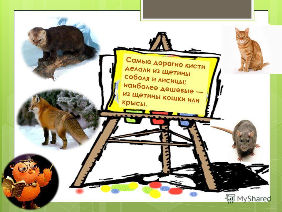 Самые дорогие кисти делали из щетины соболя и лисицы; наиболее дешевые из щетины кошки или крысы.