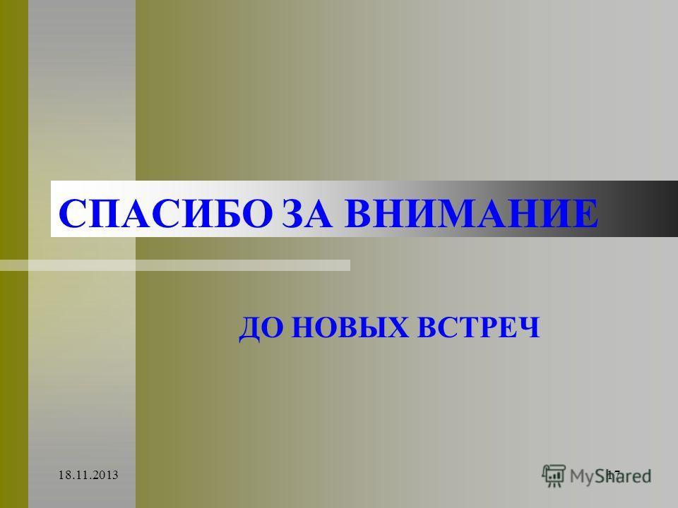 18.11.201317 СПАСИБО ЗА ВНИМАНИЕ ДО НОВЫХ ВСТРЕЧ