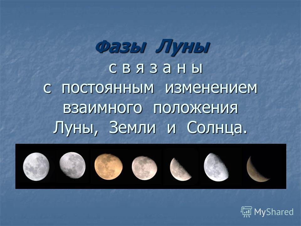. Ф азы Луны с в я з а н ы с постоянным изменением взаимного положения Луны, Земли и Солнца.