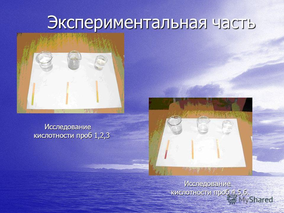 Экспериментальная часть Экспериментальная часть Исследование кислотности проб 1,2,3 Исследование кислотности проб 1,2,3 Исследование кислотности проб 4,5,6. Исследование кислотности проб 4,5,6.