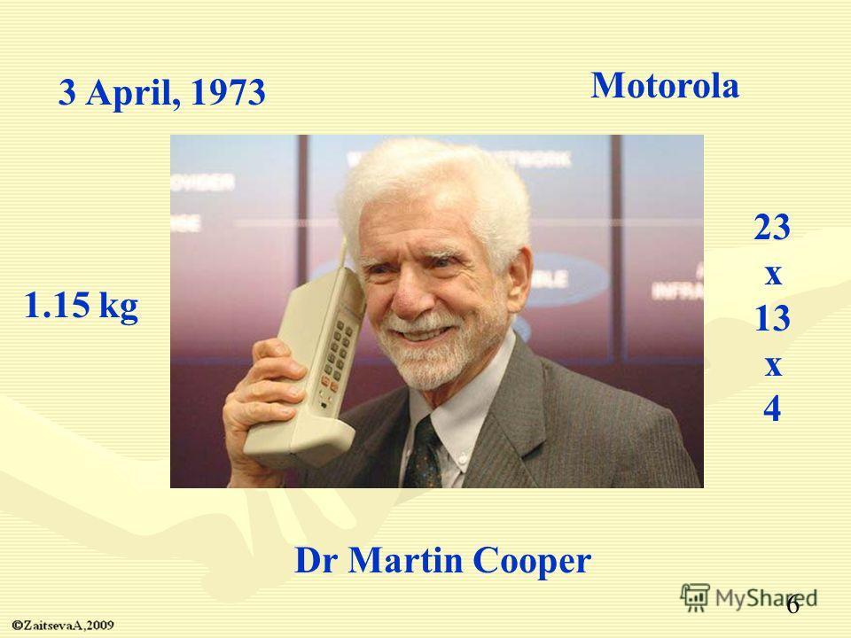 Dr Martin Cooper 3 April, 1973 Motorola 1.15 kg 23 x 13 x 4 6