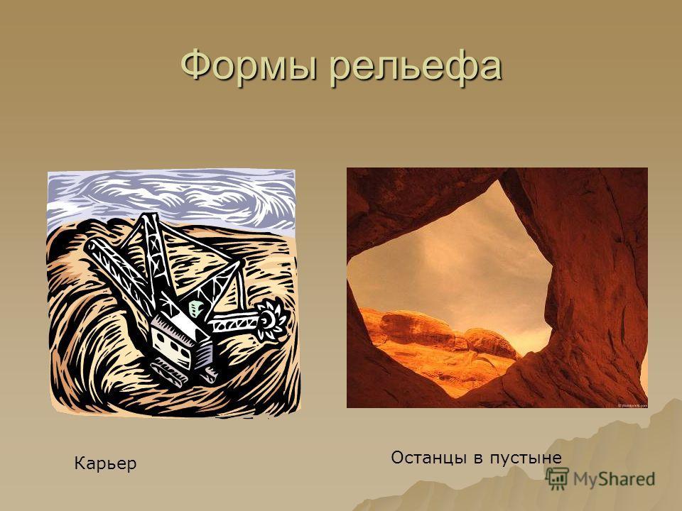 Формы рельефа Карьер Останцы в пустыне