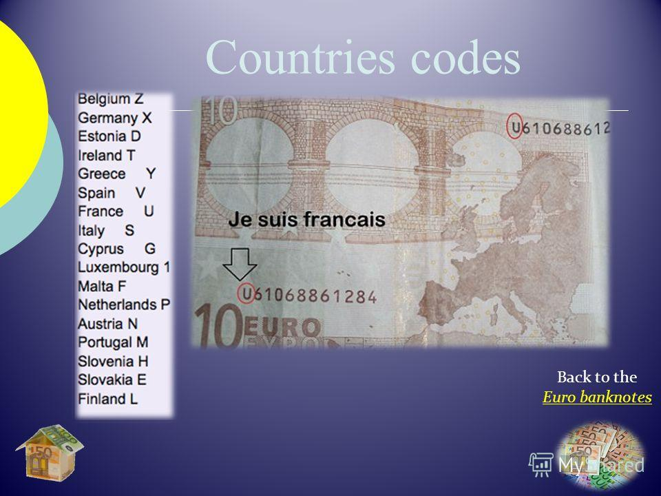 Back to the Euro banknotes Countries codes