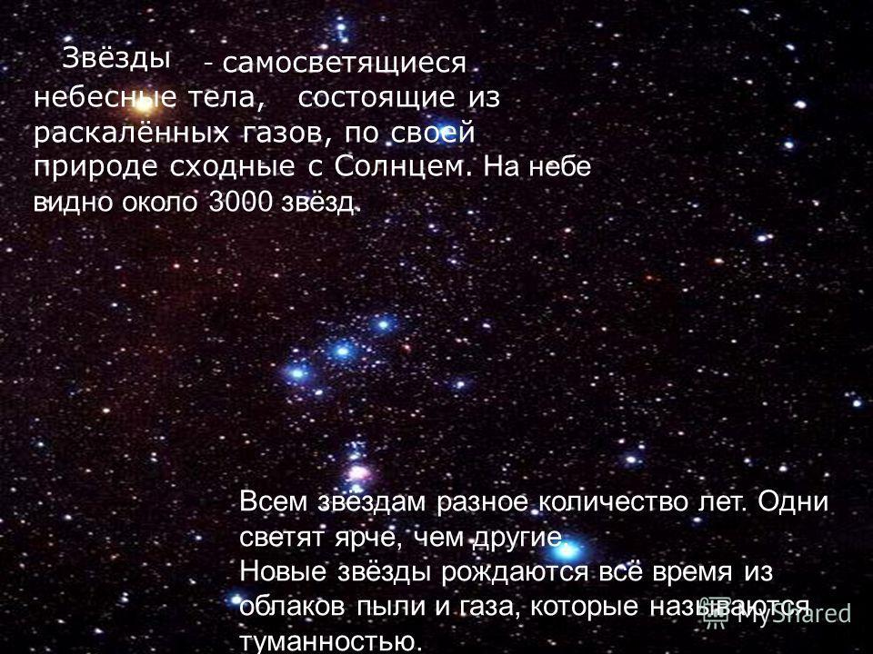 - самосветящиеся небесные тела, состоящие из раскалённых газов, по своей природе сходные с Солнцем. На небе видно около 3000 звёзд. Всем звёздам разное количество лет. Одни светят ярче, чем другие. Новые звёзды рождаются всё время из облаков пыли и г