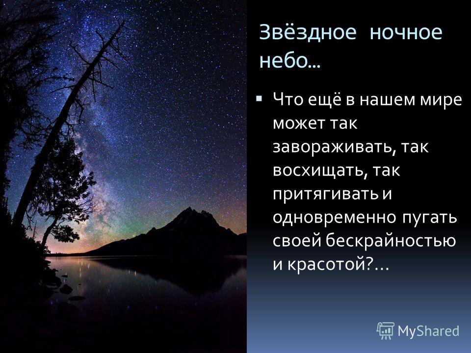 Звёздное ночное небо… Что ещё в нашем мире может так завораживать, так восхищать, так притягивать и одновременно пугать своей бескрайностью и красотой?...